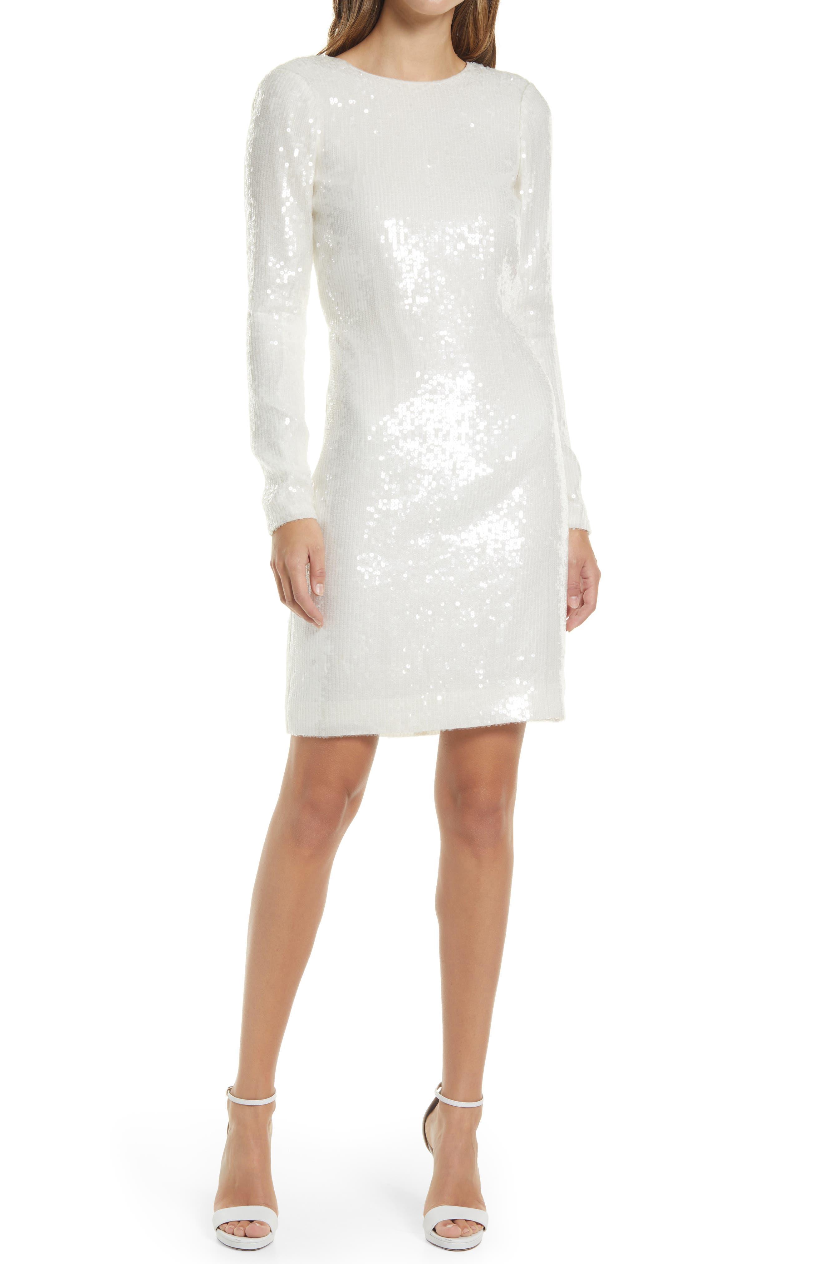 Sequin Open Back Long Sleeve Sheath Dress