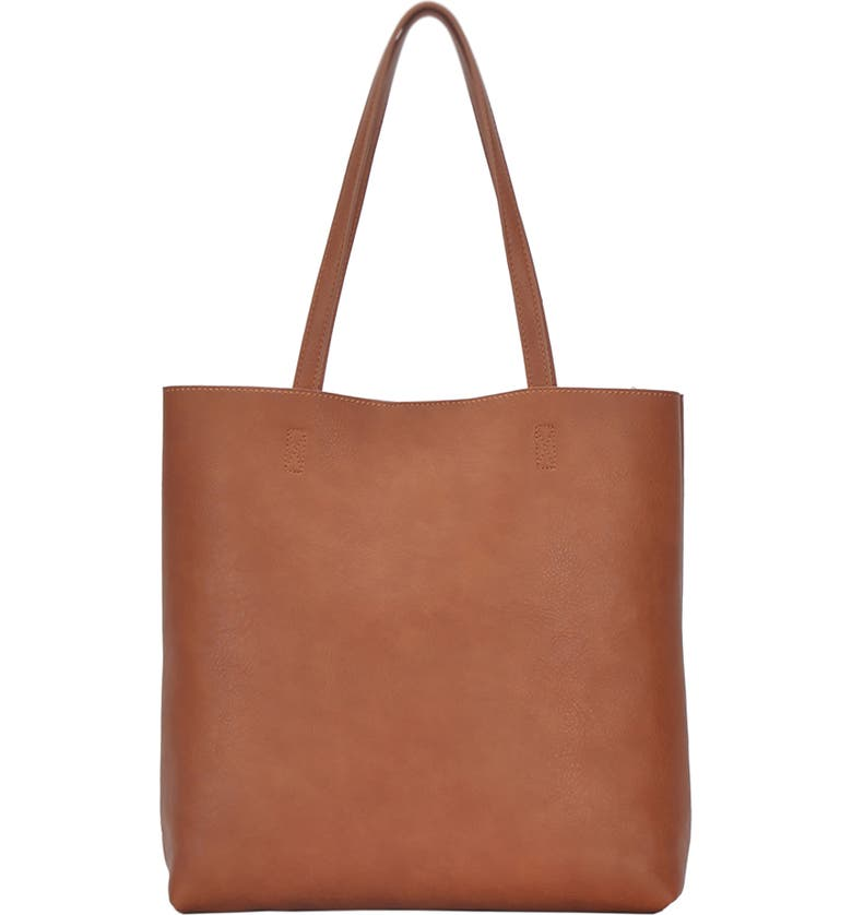 ANTIK KRAFT Faux Leather North/South Tote with Removable Pouch, Main, color, 200