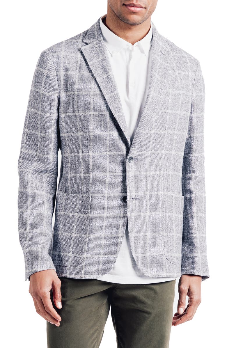 GOOD MAN BRAND Downtown Slim Fit Linen Blend Windowpane Sport Coat, Main, color, GREY