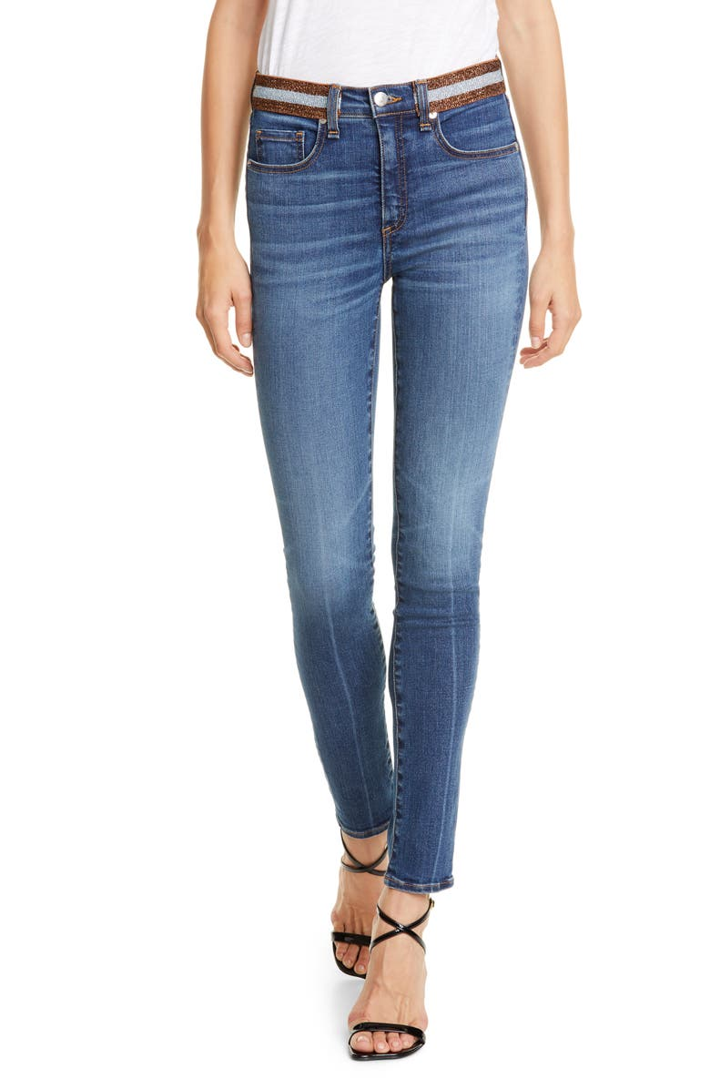 VERONICA BEARD Kate Tux Waistband Skinny Jeans, Main, color, NANTUCKET