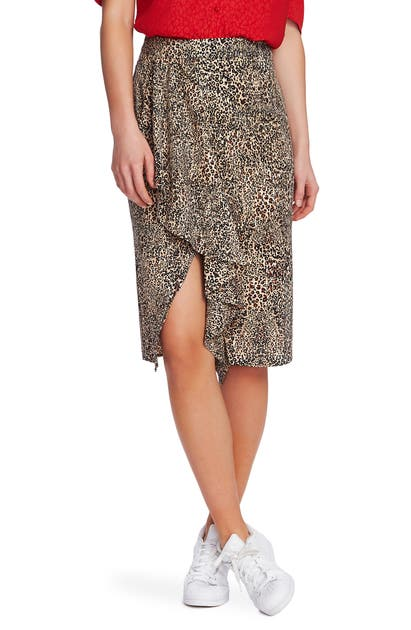 1.state Skirts RUFFLE FRONT LEOPARD PRINT PENCIL SKIRT