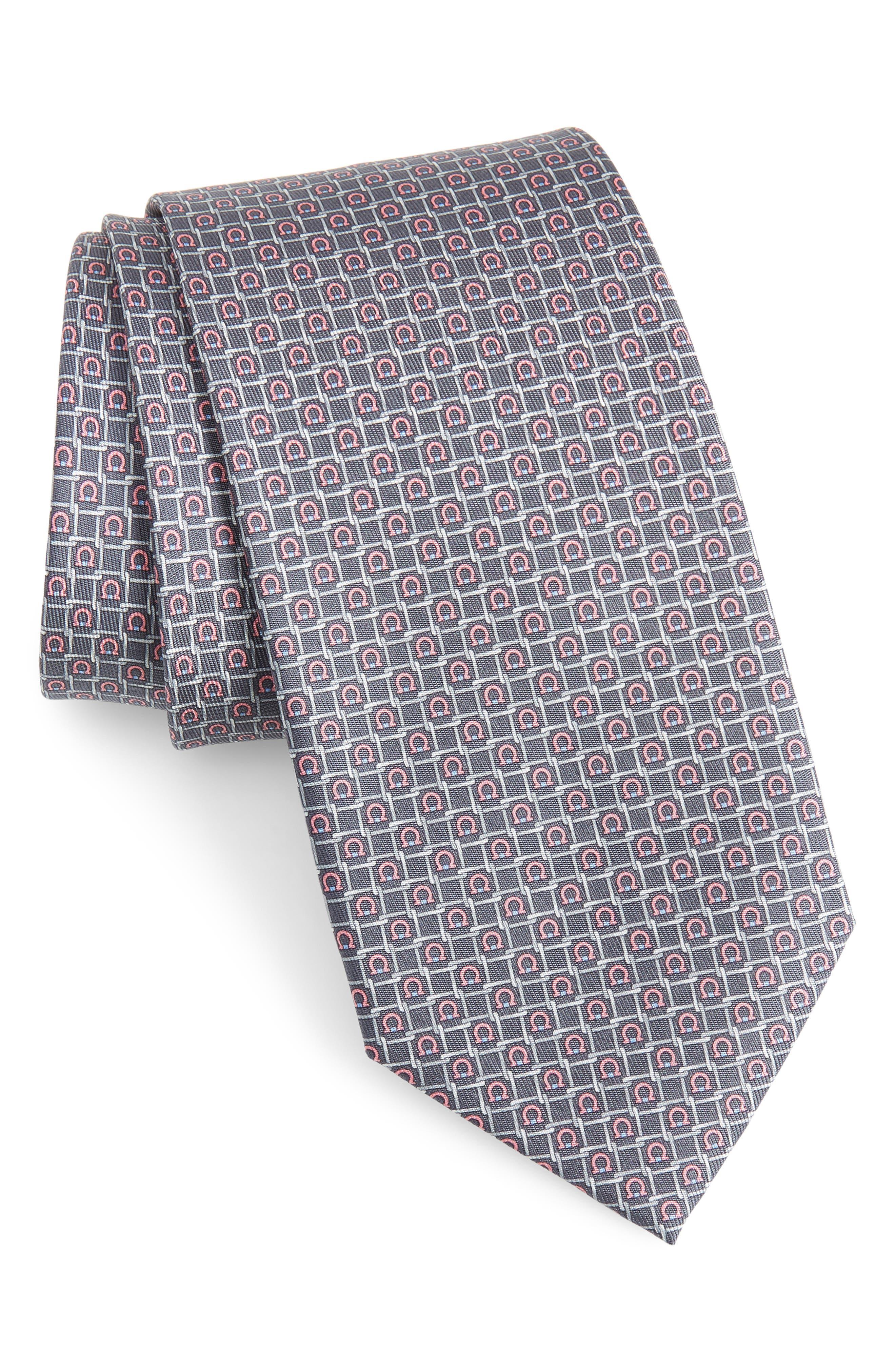 ,                             Geometric Silk Tie,                             Main thumbnail 1, color,                             GREY