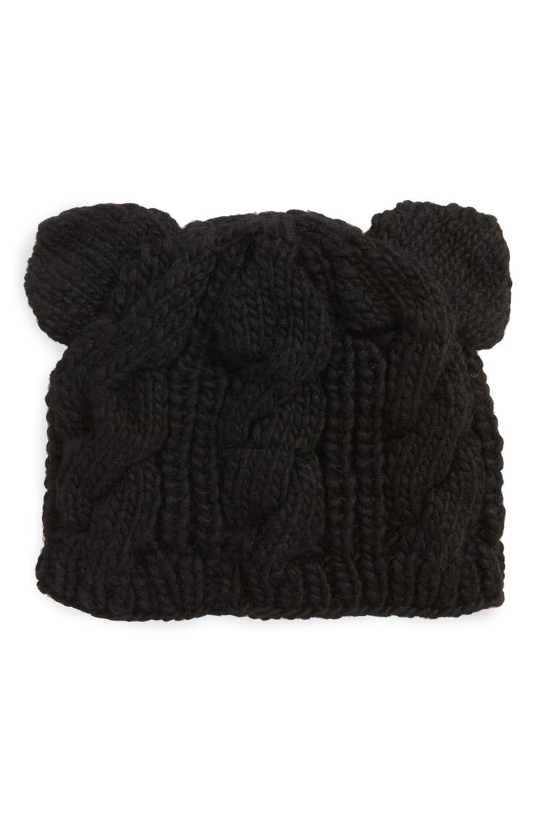 NIRVANNA DESIGNS Cable Knit Kitty Beanie, Main, color, 001