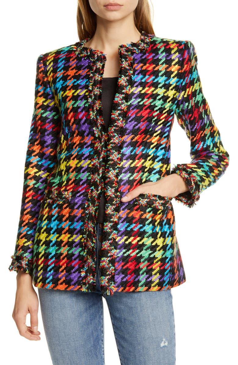ALICE + OLIVIA Andreas Tweed Jacket, Main, color, BLACK MULTI
