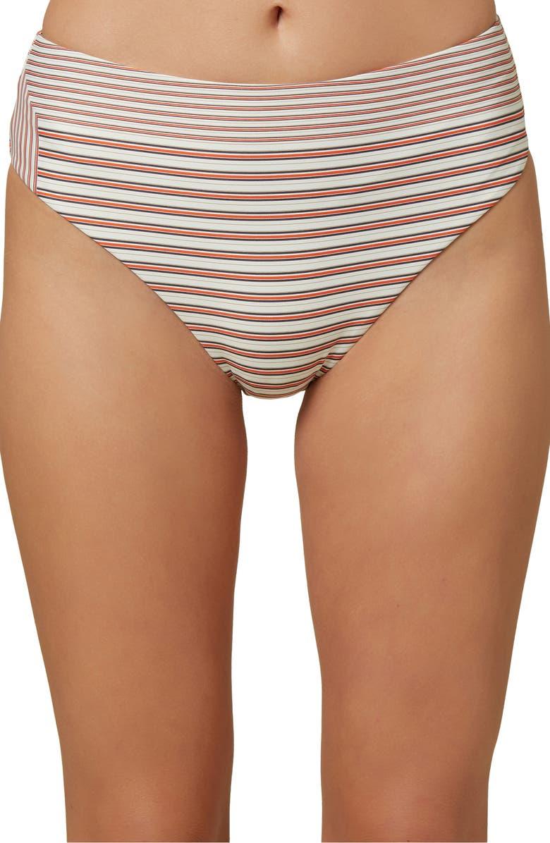 O'NEILL Sunray Stripe High Waist Bikini Bottoms, Main, color, VANILLA