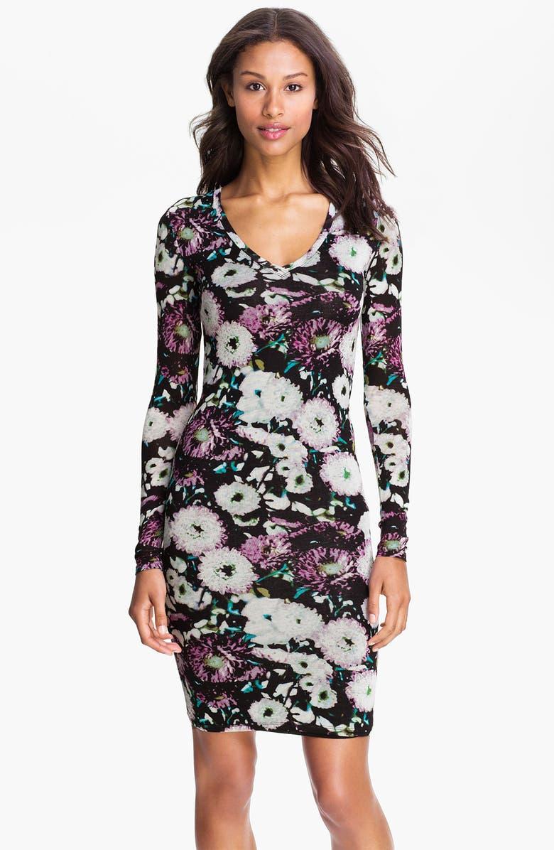 BCBGMAXAZRIA Floral Print V-Neck Sheath Dress, Main, color, 001