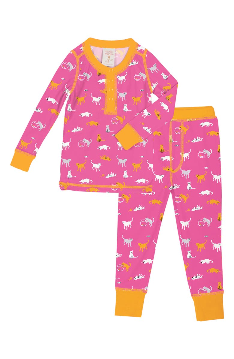 MUNKI MUNKI Kat House Fitted Two-Piece Pajamas, Main, color, PINK
