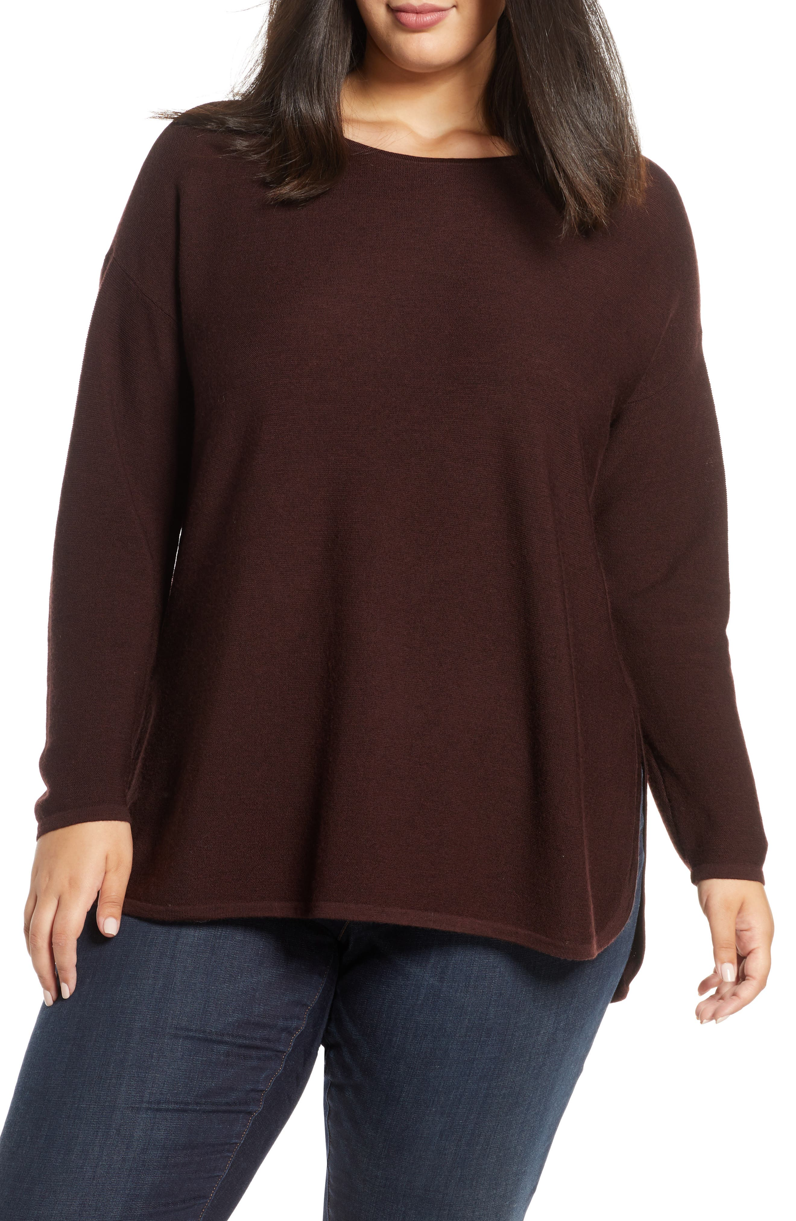 Eileen Fisher Crewneck Merino Wool Tunic Top (Plus Size)
