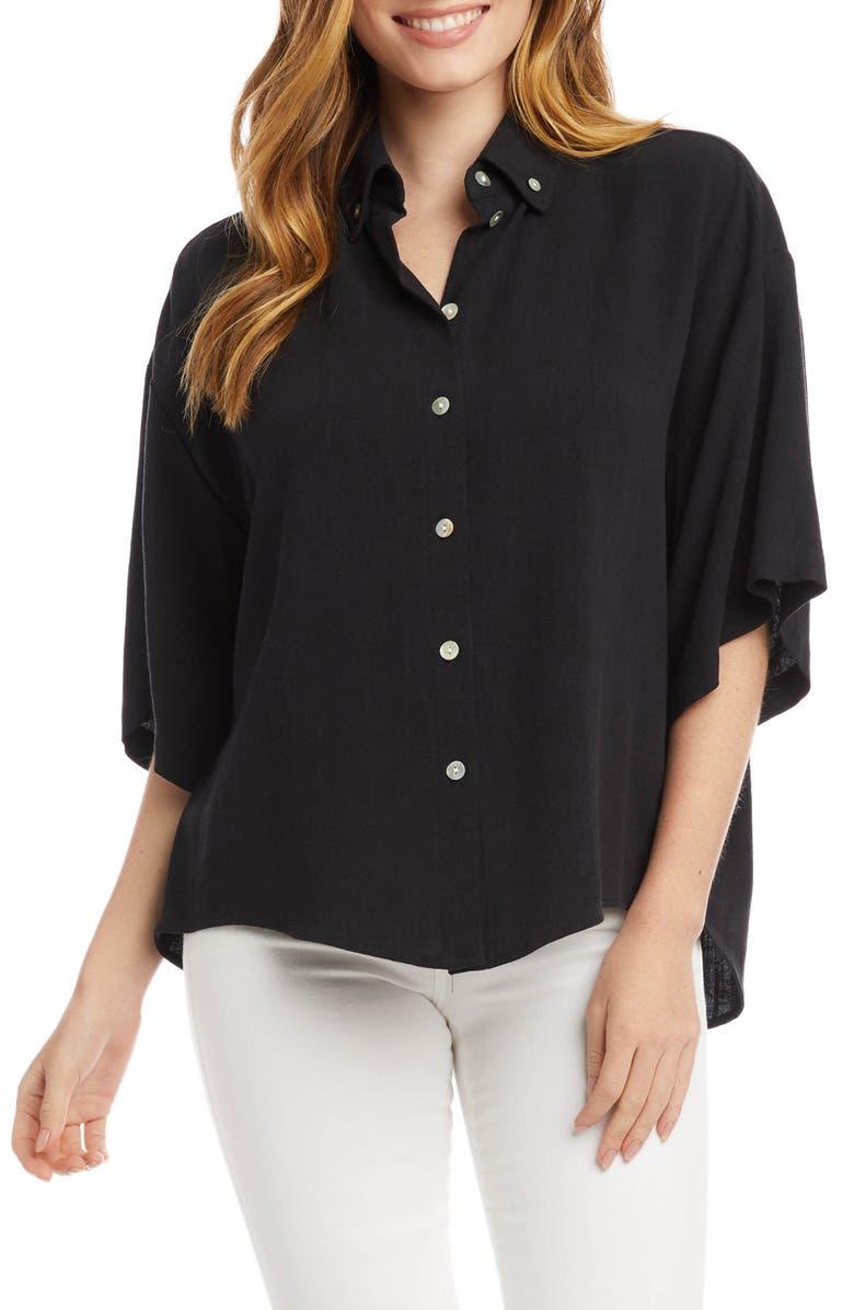 KAREN KANE Relaxed Woven Shirt, Main, color, BLACK