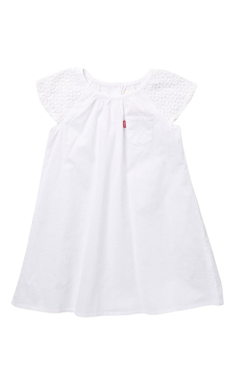 LEVIS Cap Sleeve Dress, Main, color, WHITE