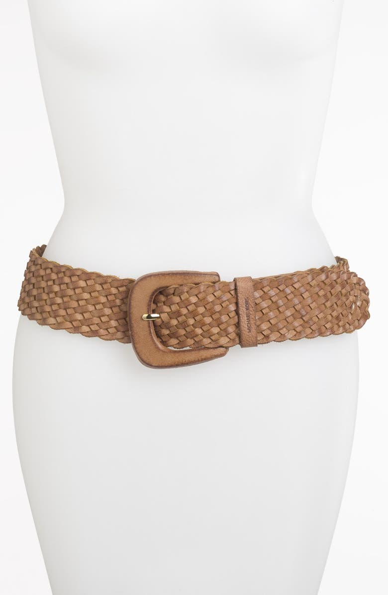 MICHAEL MICHAEL KORS Braided Leather Belt, Main, color, 107