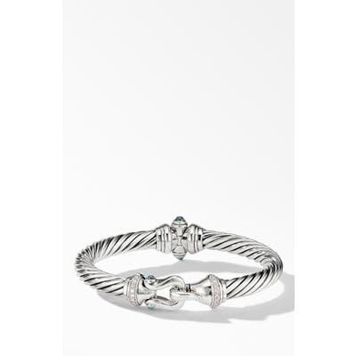 David Yurman Cable Buckle Bracelet With Hampton Blue Topaz & Diamonds