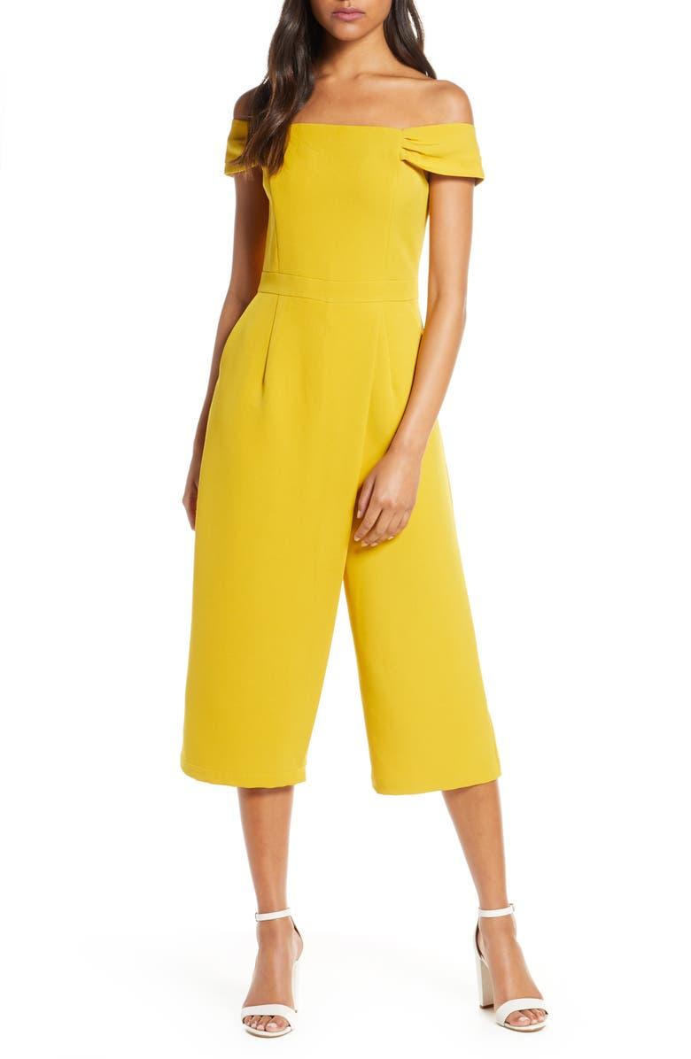 ADELYN RAE Roxanne Off the Shoulder Crop Jumpsuit, Main, color, MUSTARD
