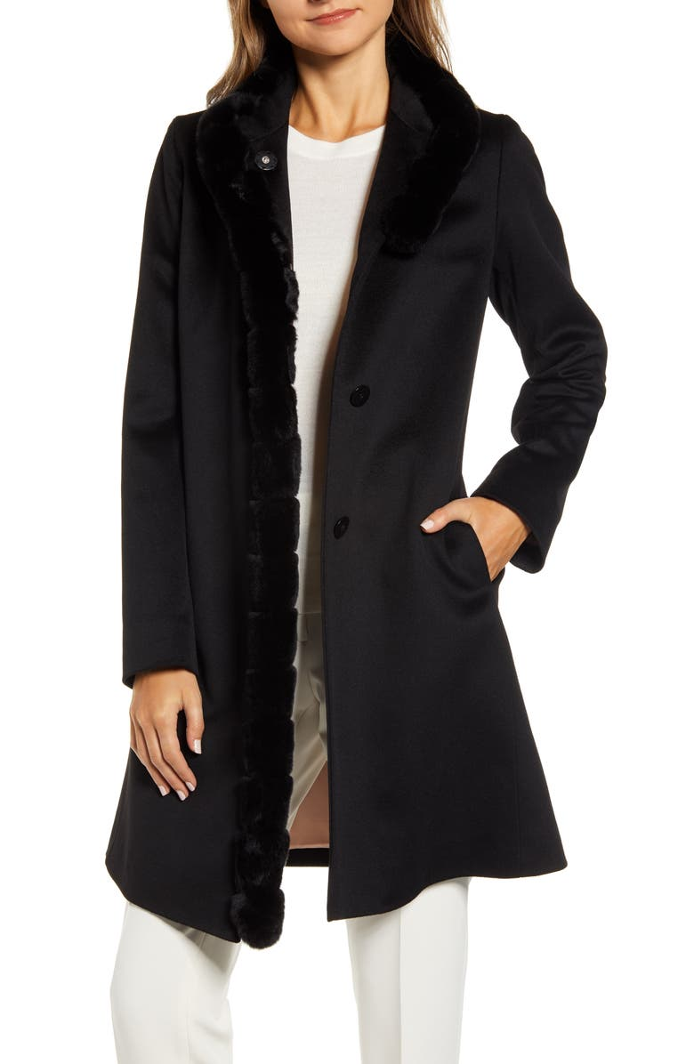 FLEURETTE Wool Car Coat with Genuine Rex Rabbit Fur Trim, Main, color, BLACK