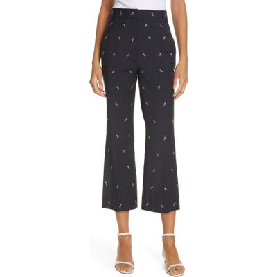Tibi Ant Embroidered Crop Flare Pants, Blue