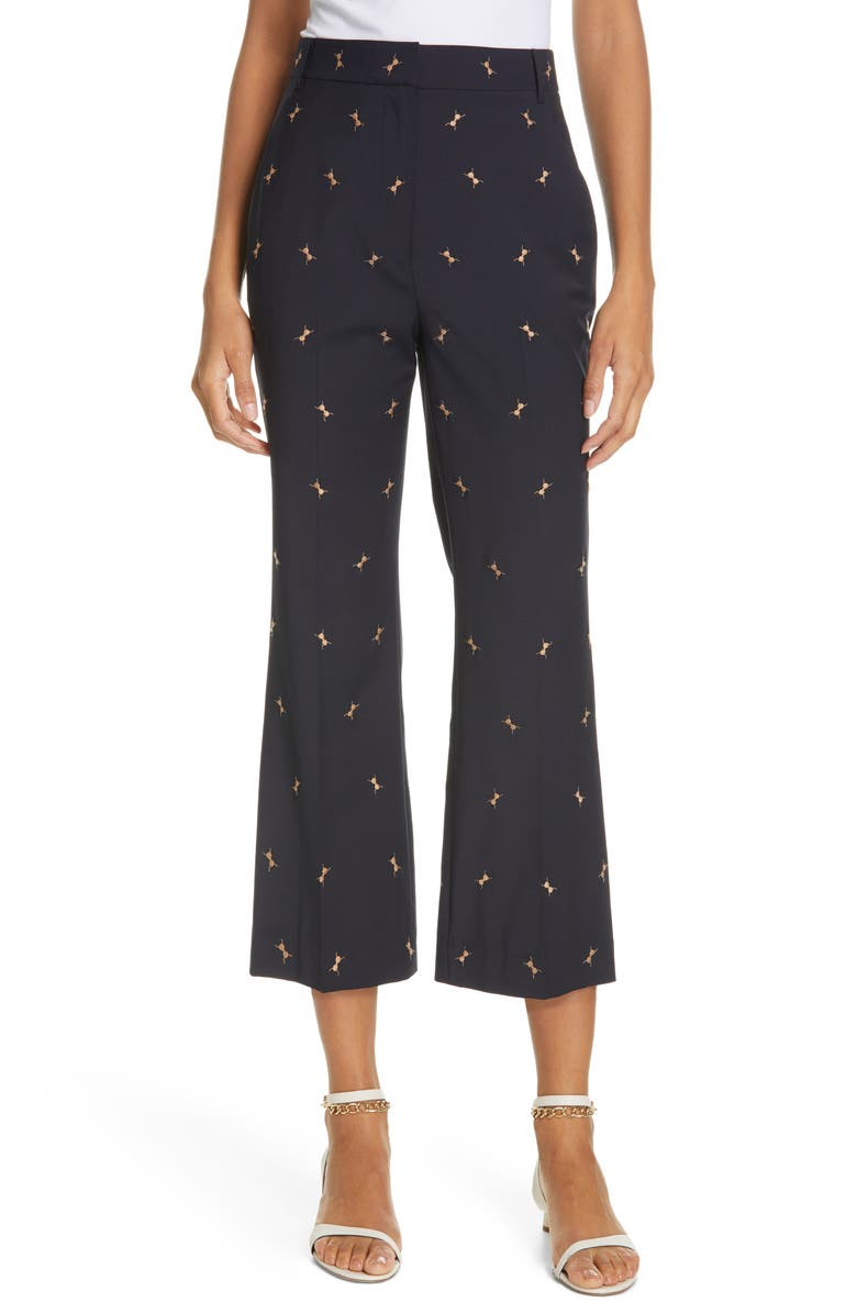 TIBI Ant Embroidered Crop Flare Pants, Main, color, DARK NAVY/ CARAMEL MULTI