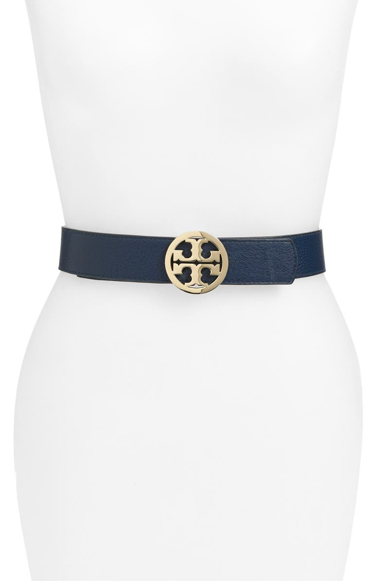 TORY BURCH 'Robinson' Reversible Logo Leather Belt, Main, color, 400