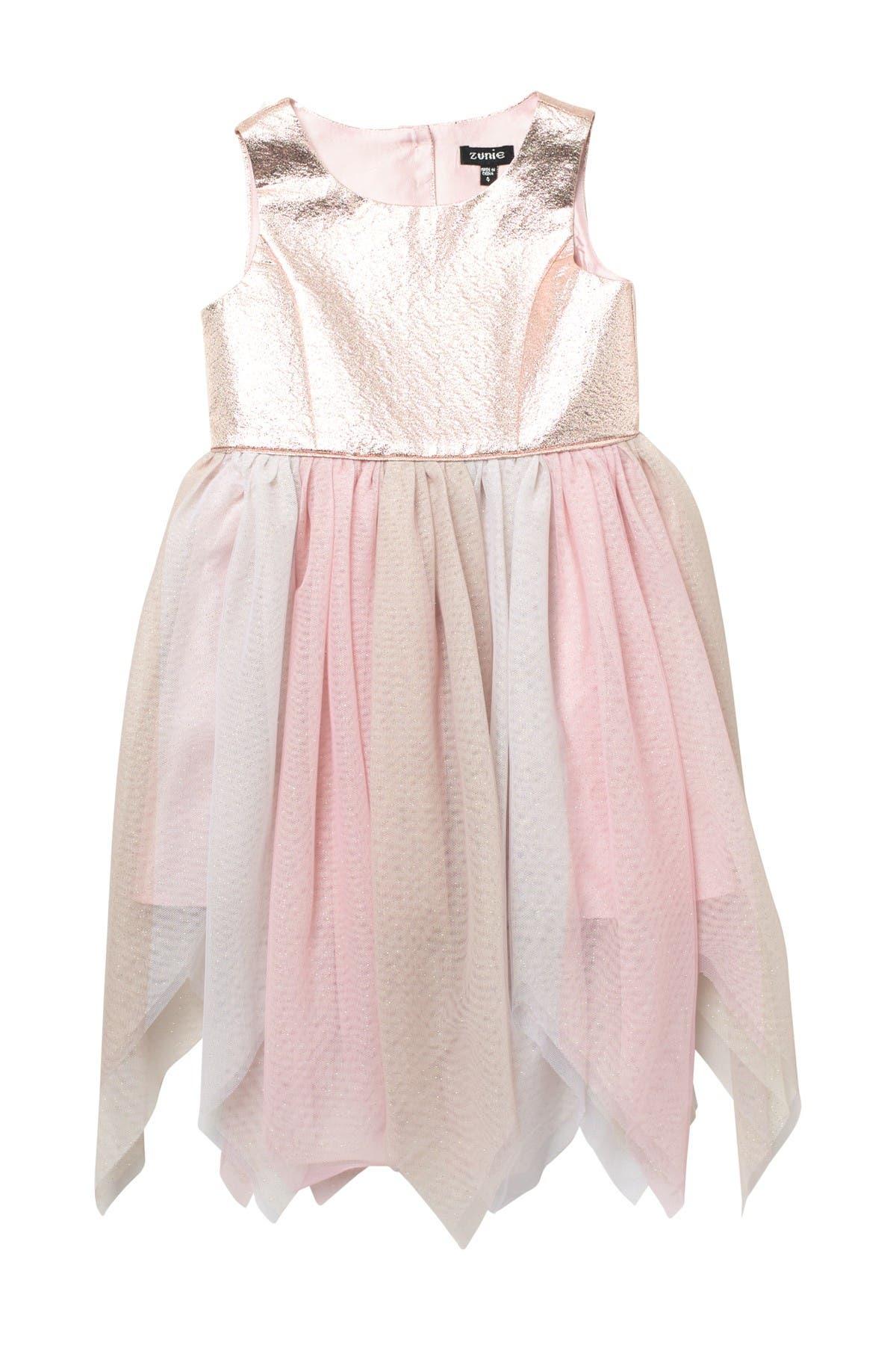 Image of Zunie Sleeveless Brocade Mesh Fairy Dress