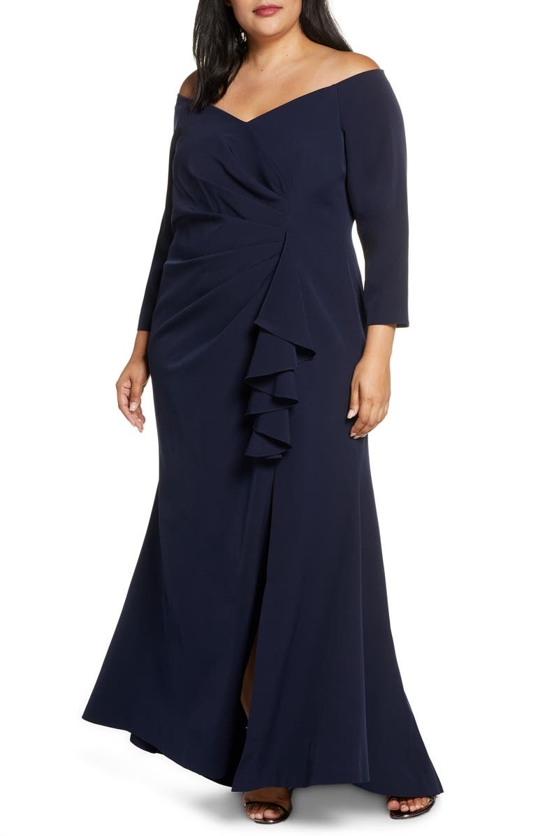 VINCE CAMUTO Long Sleeve Off the Shoulder Gown, Main, color, NAVY