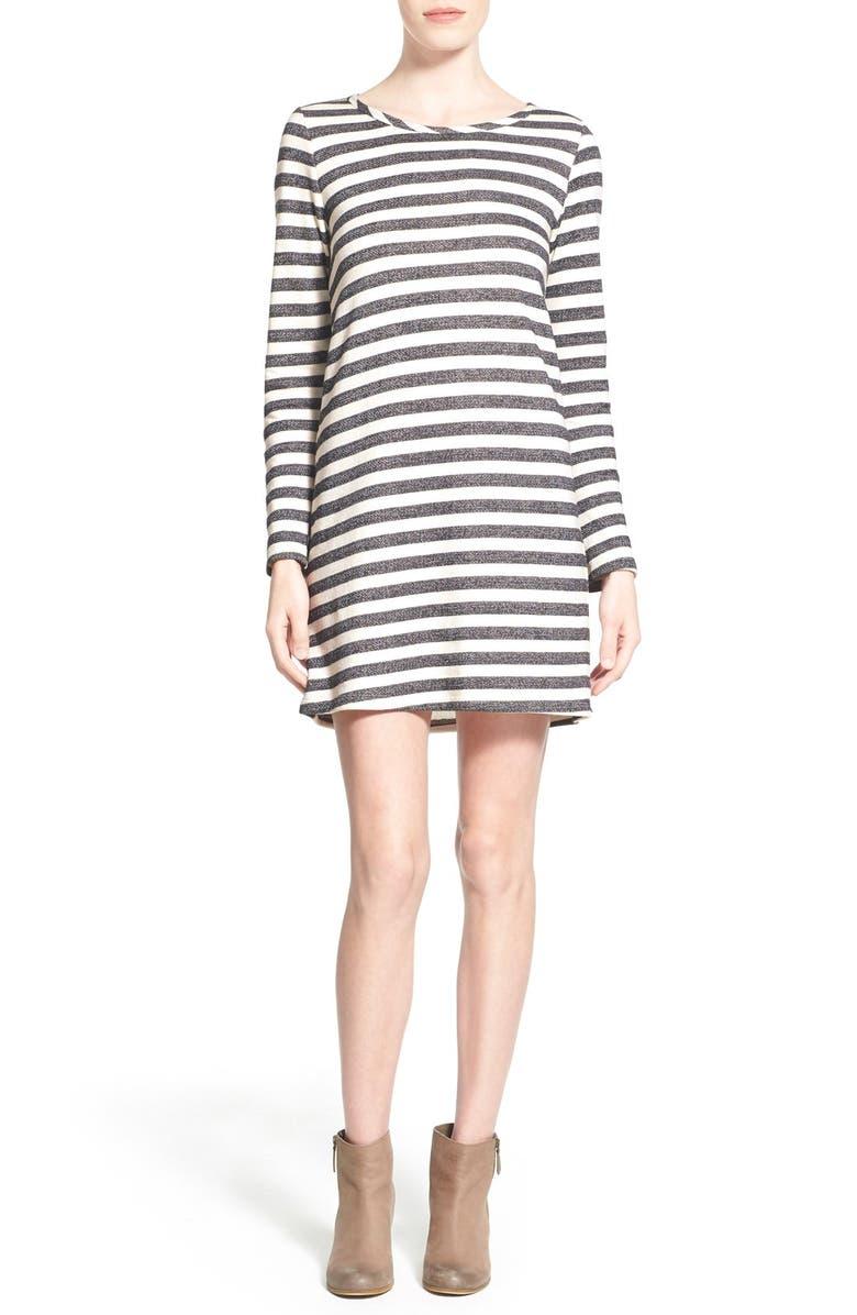 EVERLY Stripe Long Sleeve Shift Dress, Main, color, 005