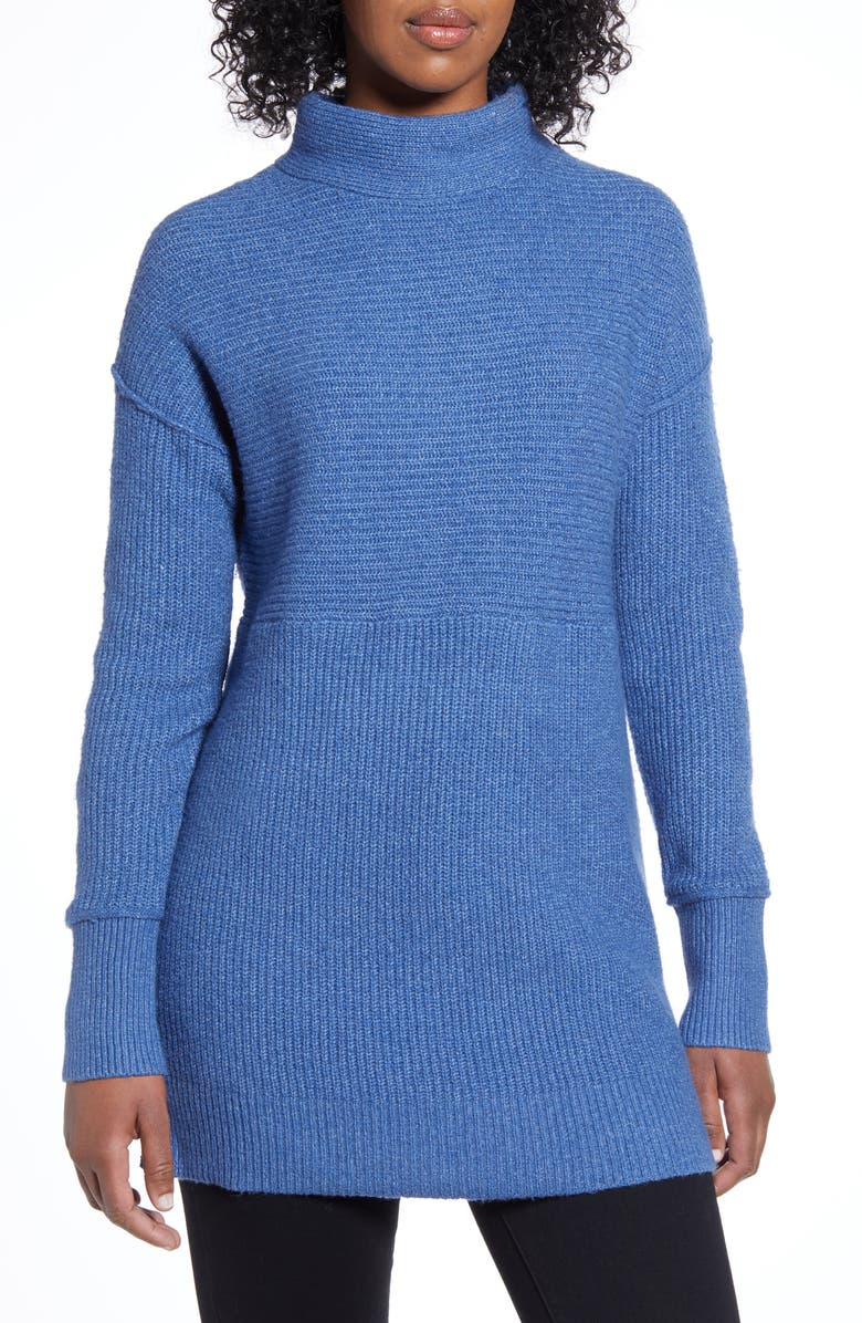 CASLON<SUP>®</SUP> Ribbed Tunic Sweater, Main, color, BLUE CHINA