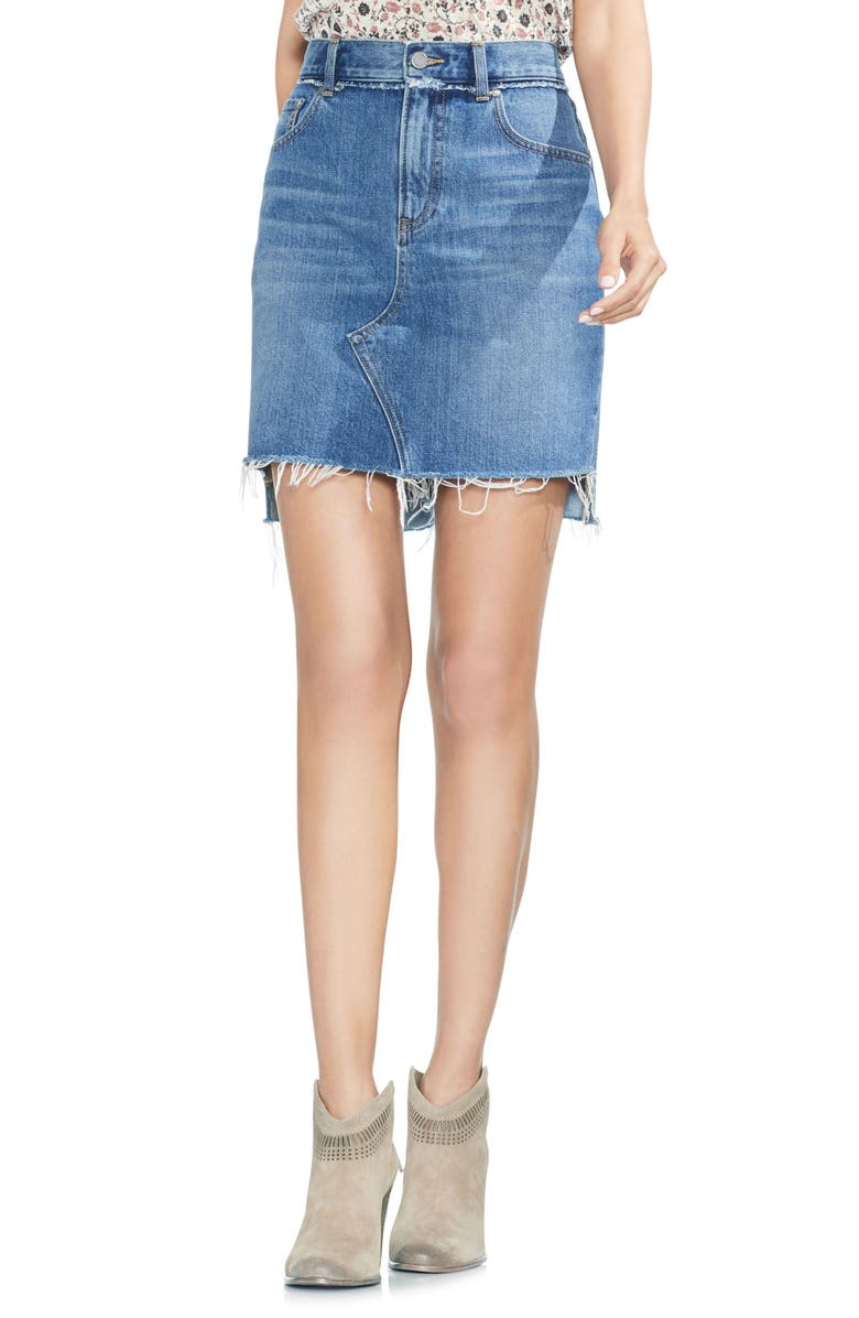 VINCE CAMUTO Classic Fray Hem Denim Skirt, Main, color, 482