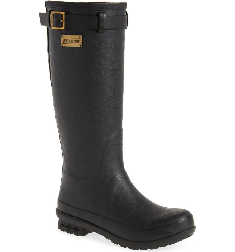 PENDLETON Embossed Tall Waterproof Rain Boot, Main, color, BLACK