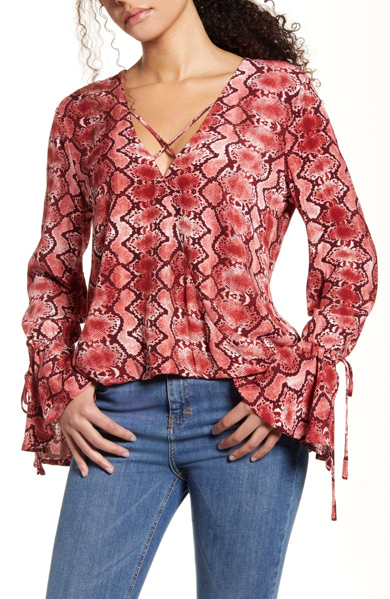 BAND OF GYPSIES Welcome to the Jungle Flare Cuff Top, Main, color, CURRANT