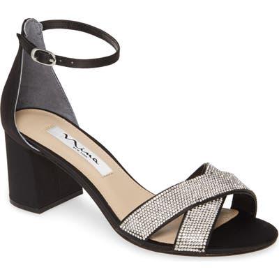 Nina Nolita Crystal Ankle Strap Sandal, Black