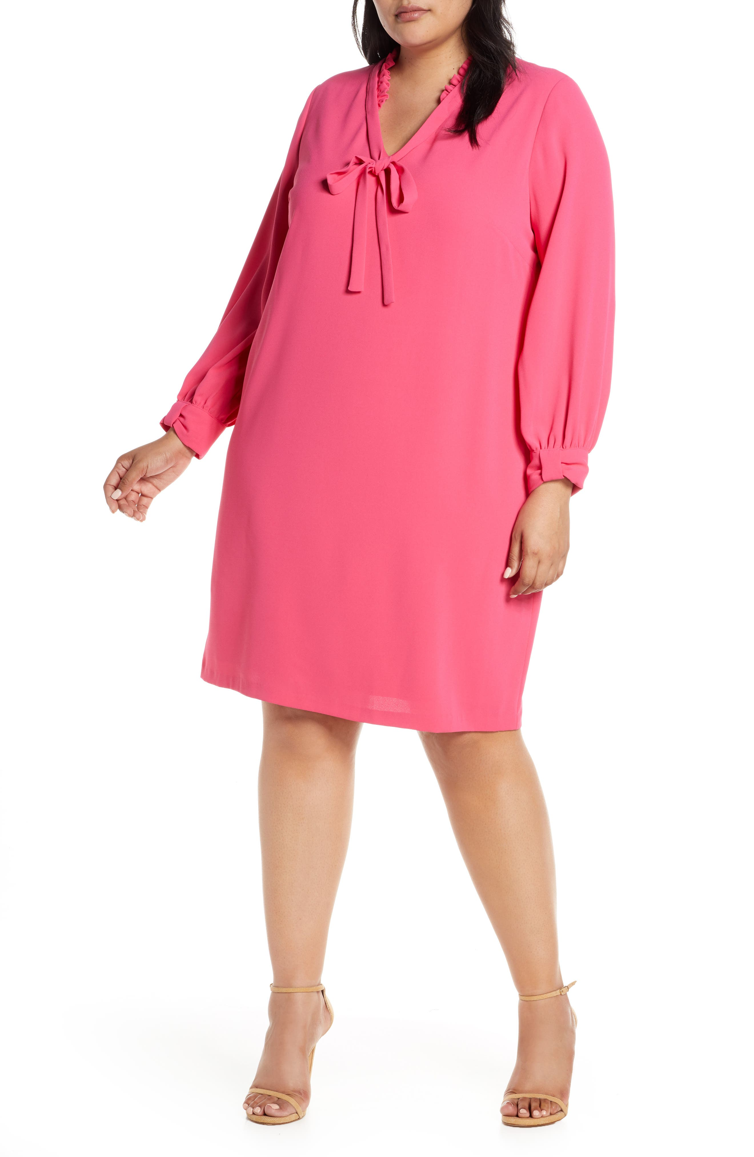 plus size women's cece moss crepe ruffle collar long sleeve shift dress