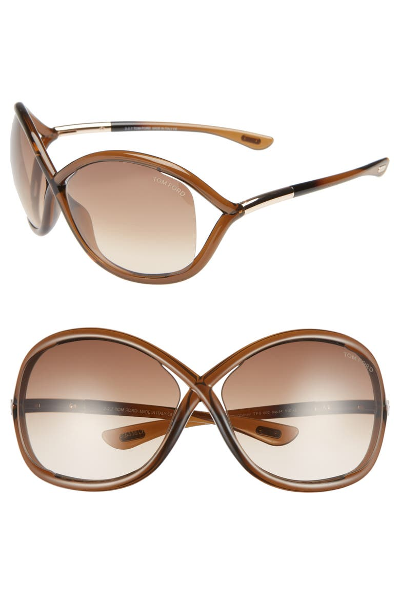 TOM FORD 'Whitney' 64mm Open Side Sunglasses, Main, color, DARK BROWN