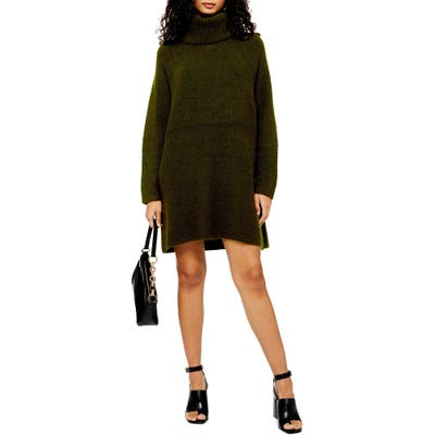 Topshop Turtleneck Sweater Dress, Green