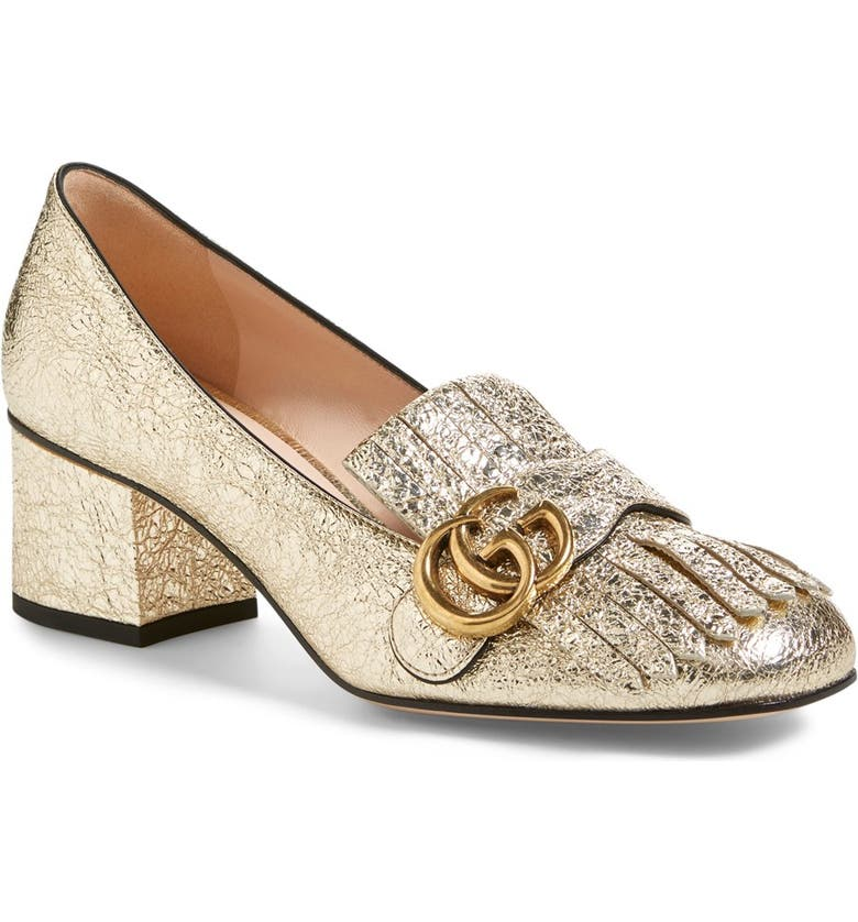 GUCCI GG Marmont Pump, Main, color, GOLD LEATHER