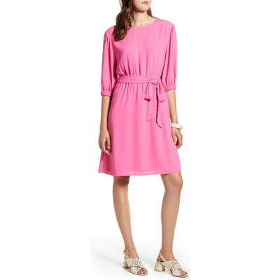 Petite Halogen Tie Waist Dress, Pink