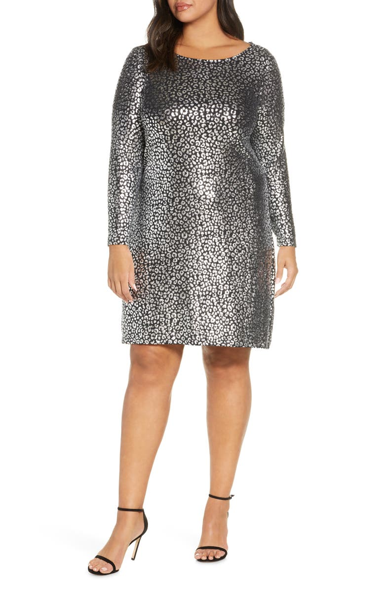 MICHAEL MICHAEL KORS Catty Foiled Long Sleeve Cocktail Dress, Main, color, BLK/SILVER