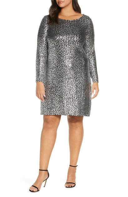 Michael Michael Kors Catty Foiled Cowl-back Long-sleeve Dress In Blk/silver
