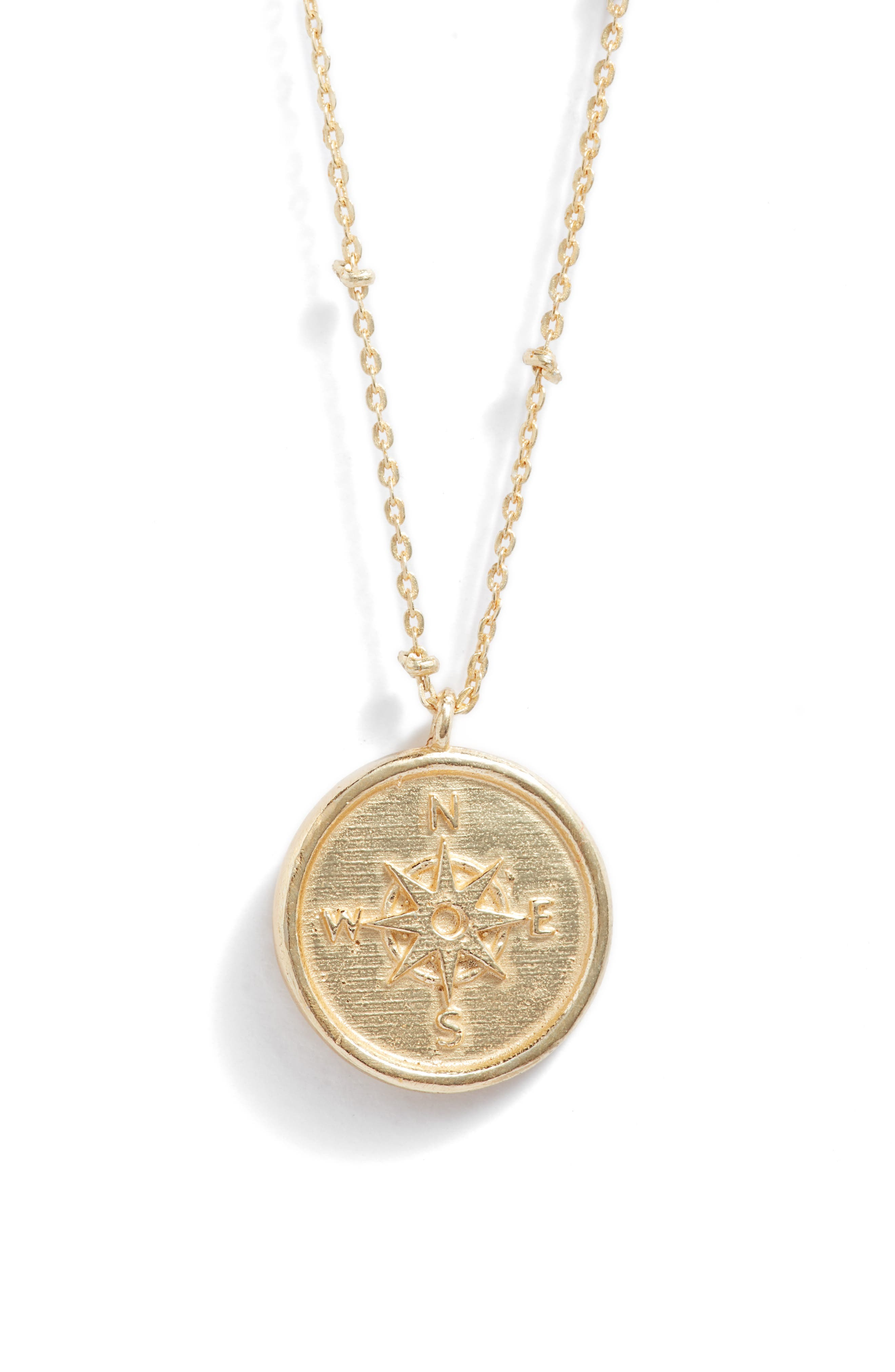 Collections by Joya Sterling Silver Compass Pendant Necklace in Gold at Nordstrom