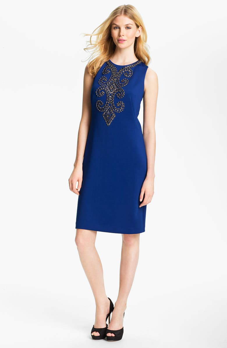 ELLEN TRACY Sleeveless Embellished Front Sheath Dress, Main, color, 430