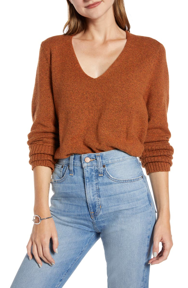 SOMETHING NAVY V-Neck Sweater, Main, color, RUST LEATHER