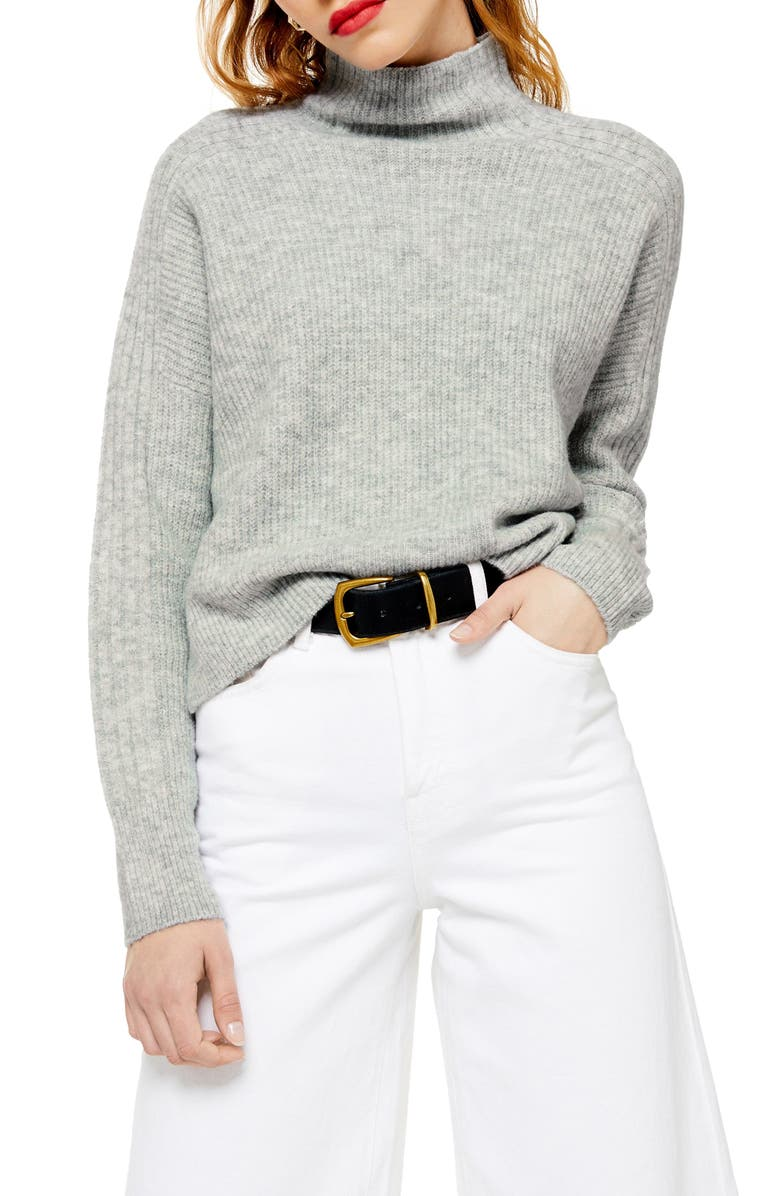TOPSHOP Funnel Neck Crop Sweater, Main, color, GREY