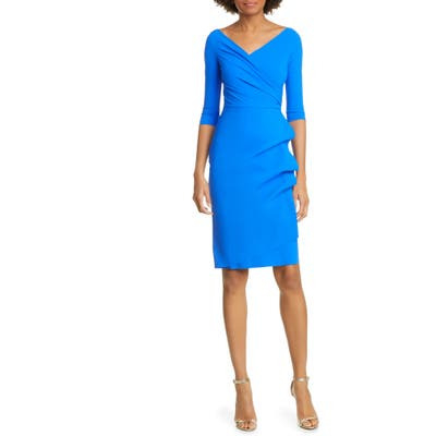 Chiara Boni La Petite Robe Florien Ruched Cocktail Dress, US / 40 IT - Blue