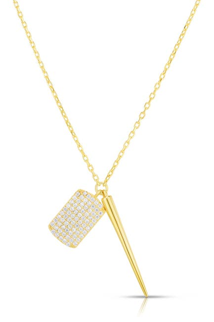 Image of Sphera Milano 14K Gold Plated Sterling Silver Spiked CZ Charm Necklace