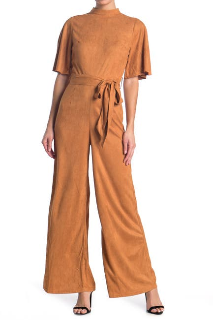 Image of Jealous Tomato Microsuede Flutter Sleeve Jumpsuit