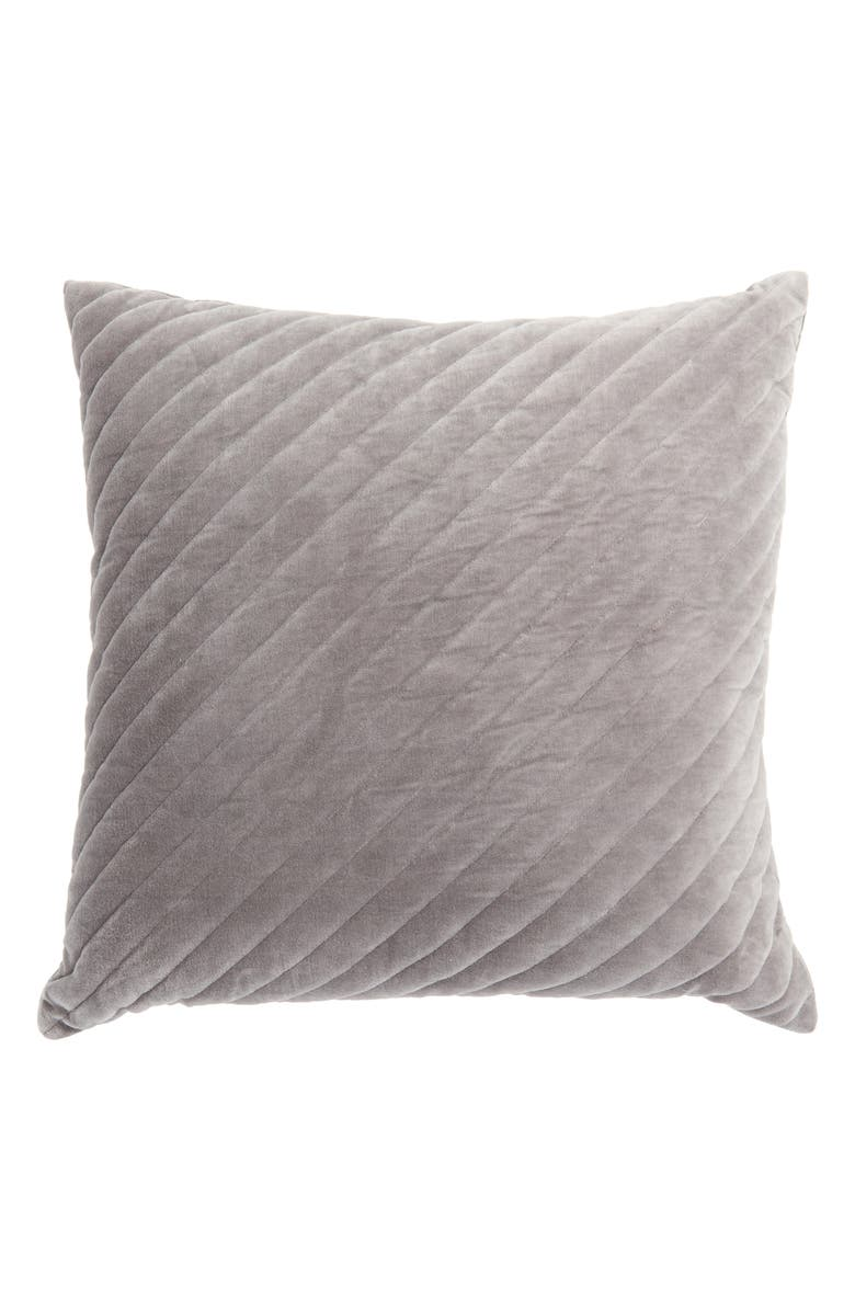NORDSTROM Channel Quilted Velvet Accent Pillow, Main, color, GREY DECEMBER