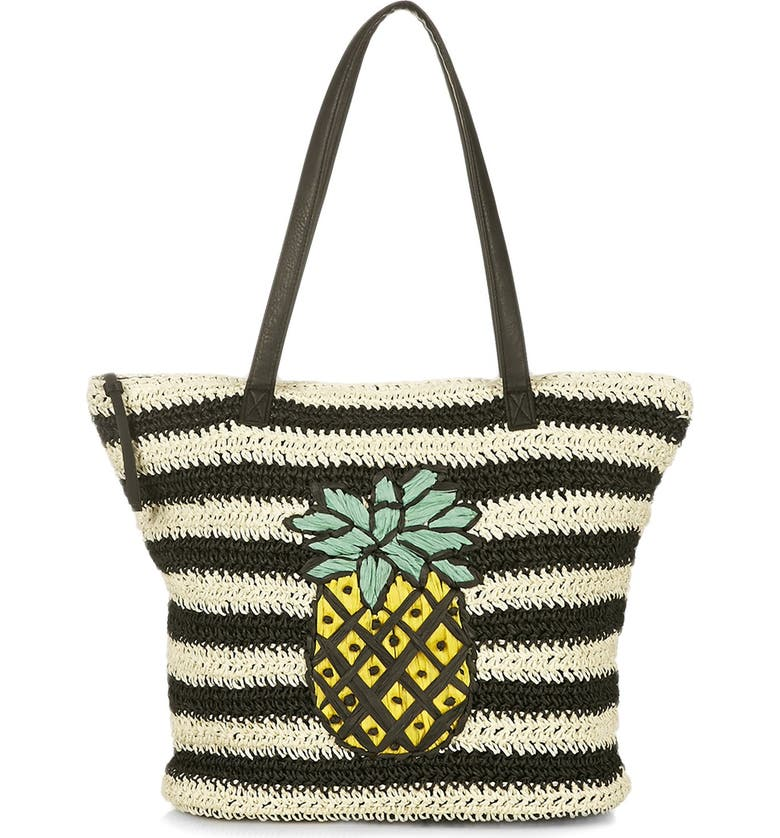 TOPSHOP 'Pineapple' Woven Tote, Main, color, 001