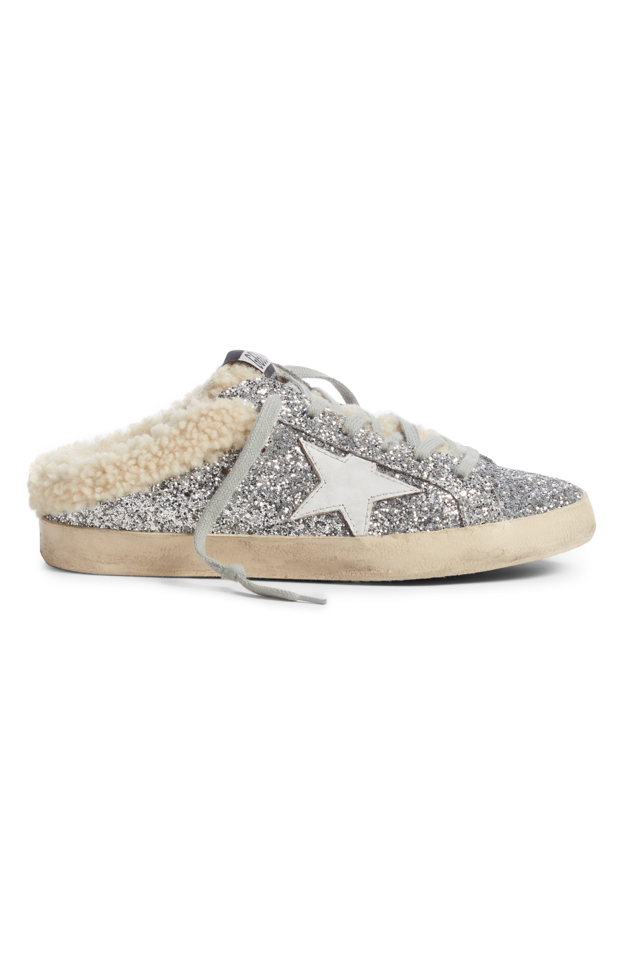 ,                             Sabot Superstar Genuine Shearling Slide Sneaker,                             Alternate thumbnail 3, color,                             SILVER/ WHITE