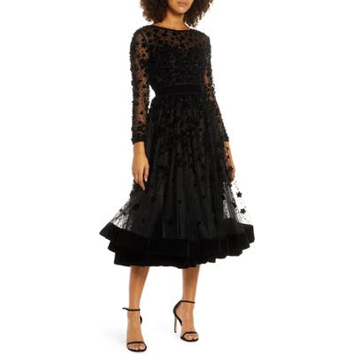MAC Duggal Long Sleeve Fit & Flare Velvet Embellished Cocktail Dress, Black