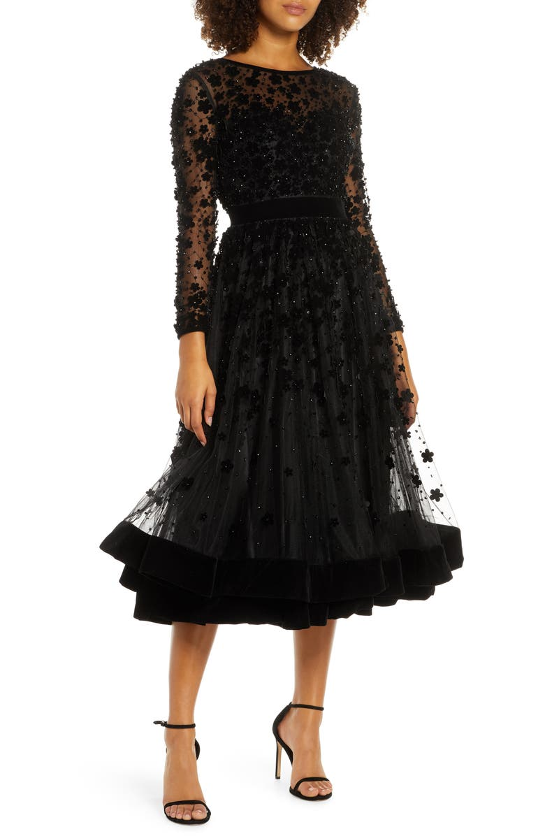 MAC DUGGAL Long Sleeve Fit & Flare Velvet Embellished Cocktail Dress, Main, color, BLACK
