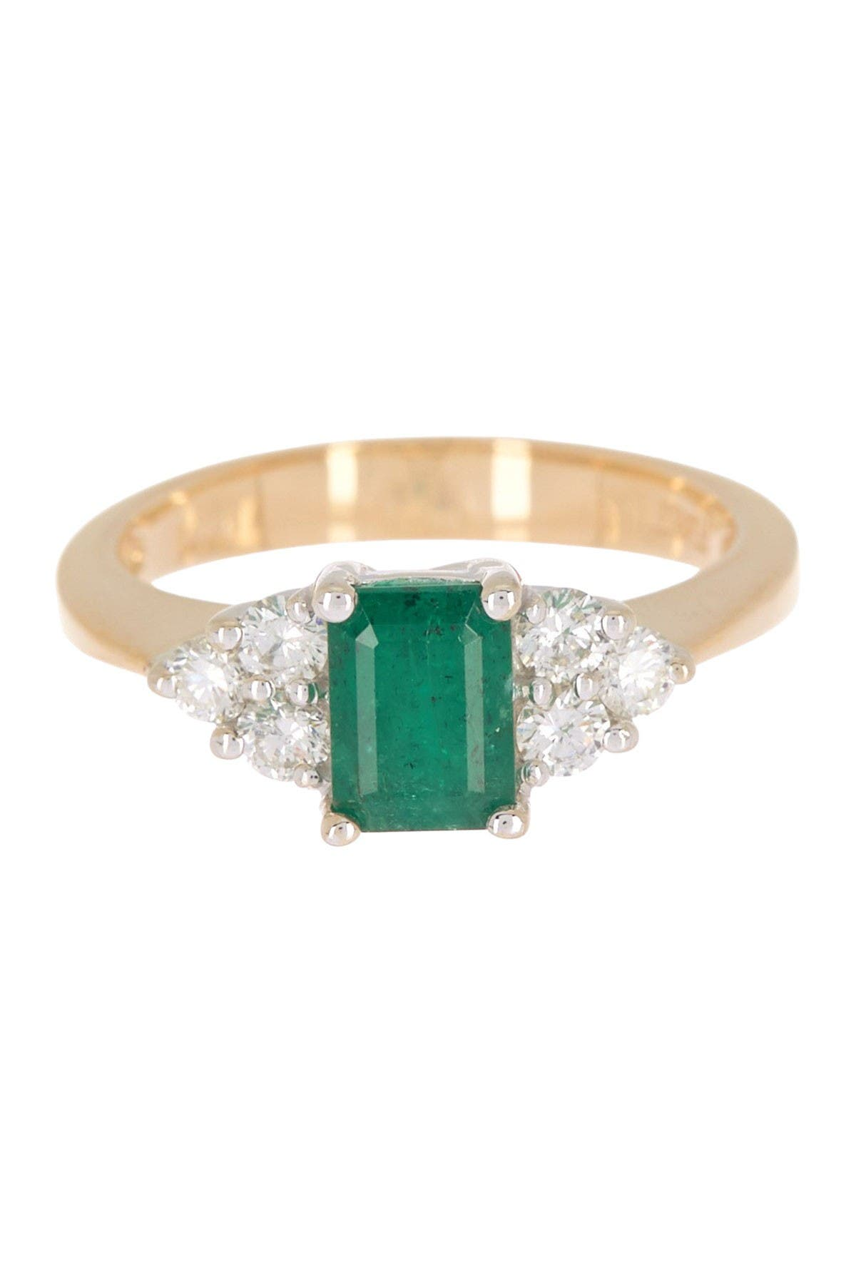 Image of Effy 14K Yellow Gold Prong Set Emerald & Diamond Accent Ring - Size 7
