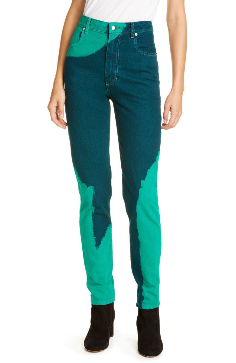 ECKHAUS LATTA EL Hand Dyed High Waist Straight Leg Jeans, Main, color, CHAPS